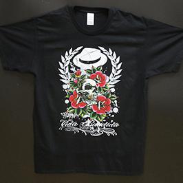 Zwart t-shirt met bedrukking van A1 digitale textielprinter WER-EP6090T